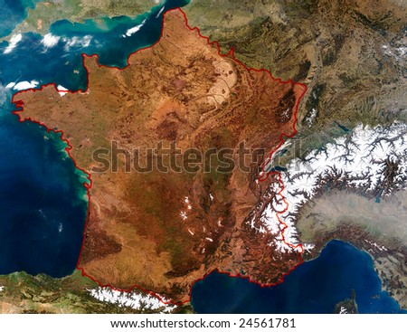 3D Relief Map of France. Data source: NASA