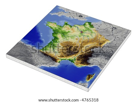 Outline Map Of France With Cities. 3D Relief Map of France,