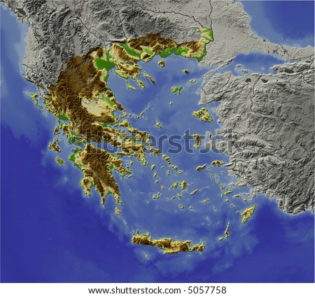 3D relief map of Greece.  Shows major cities and rivers, surrounding territory greyed out.  Artificially colored according to terrain height.