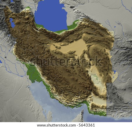 map of iran and neighboring countries. stock photo : 3D relief map of