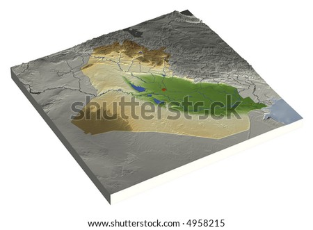 3D relief map of Iraq, line of sight towards north-east.  Shows major cities and rivers, surrounding territory greyed out.  Colored according to height. Contains path to mask out the background.