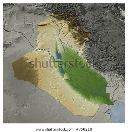 3D relief map of Iraq, seen from above.  Shows major cities and rivers, surrounding territory greyed out.  Colored according to terrain height. Contains path to mask out the background.