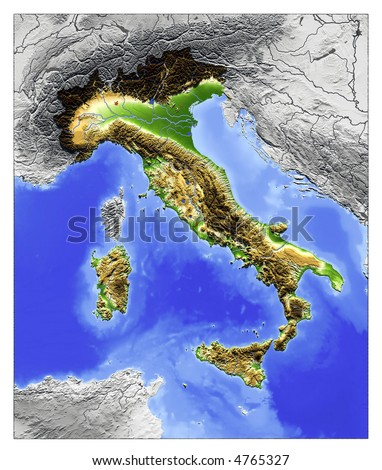 3D Relief Map of Italy, seen from above.  Shows major cities and rivers, surrounding territory greyed out. Artificially colored according to terrain height.
