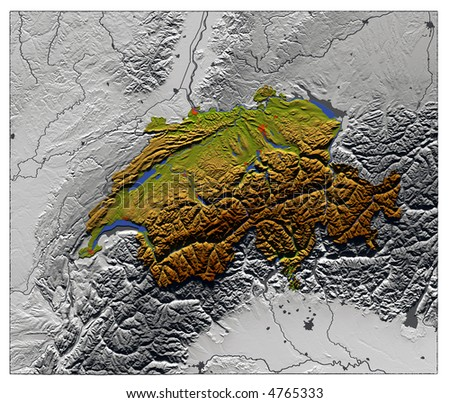 3D Relief Map of Switzerland, seen from above.  Shows major cities and rivers, surrounding territory greyed out. Artificially colored according to terrain height. - stock photo