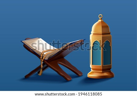 3d religion element collection of Islamic lantern fanoos and the holy Quran set on book holder with rosary. Suitable for Ramadan or Eid al Adha decoration.