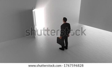 3d render A business man walks through a shine door in a bright room