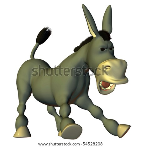 3d render a donkey in the comic style than illustration