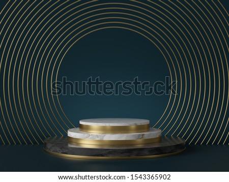 3d render, abstract art deco green background, round golden blank frames, marble texture. Cylinder steps pedestal, podium, showcase stand. Luxury minimal mockup