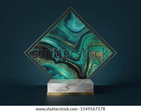 3d render, abstract art deco green marble background, square agate slab, marble texture, gold foil. Cylinder pedestal, podium, showcase stand. Luxury minimal mockup