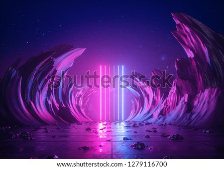 3d render, abstract background, cosmic landscape, alien portal, pink blue neon light, virtual reality, energy source, glowing laser lines, dark space, ultraviolet spectrum, mountains, rocks, ground