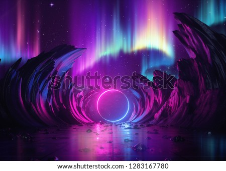3d render, abstract background, cosmic landscape, aurora borealis, round portal, pink blue neon light, virtual reality user interface, laser ring, energy, glowing frame, ultraviolet spectrum, rocks