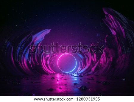 3d render, abstract background, cosmic landscape, round portal, pink blue neon light, virtual reality, energy source, glowing round frame, dark space, ultraviolet spectrum, laser ring, rocks, ground