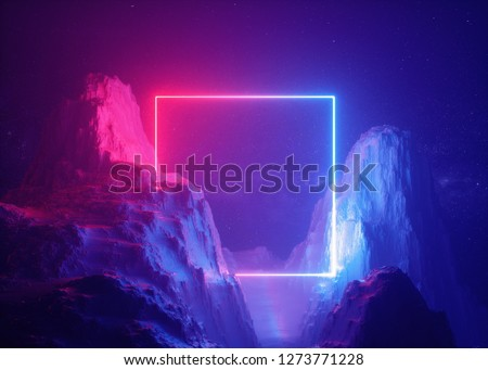 3d render, abstract background, cosmic landscape, square portal, pink blue neon light, virtual reality, energy source, glowing quad, dark space, ultraviolet spectrum, laser frame, smoke, fog, rocks