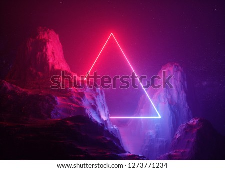 3d render, abstract background, cosmic landscape, triangular portal, pink blue neon light, virtual reality, energy source, glowing quad, dark space, ultraviolet spectrum, laser triangle, rocks, ground