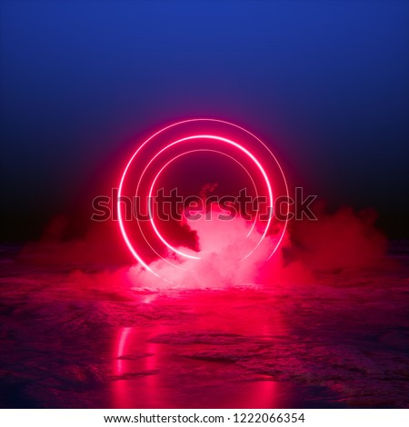 3d render, abstract background, energy source, round portal, red neon lights, virtual reality, circles, glowing rings, infrared, ultraviolet spectrum, laser show, smoke, fog, terrain, ground