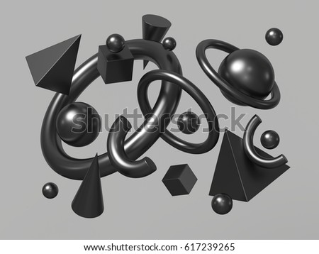 3d render, abstract background, falling geometric primitive shapes, zero-gravity, black elements isolated on neutral background