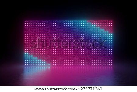 3d render, abstract background, glowing dots, screen pixels, neon lights, virtual reality, ultraviolet spectrum, pink blue vibrant colors, fashion podium, isolated on black, floor reflection