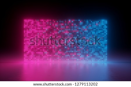 3d render, abstract background, glowing dots, screen pixels, neon lights, virtual reality, pink blue spectrum, vibrant colors, fashion podium, laser show, isolated on black, floor reflection