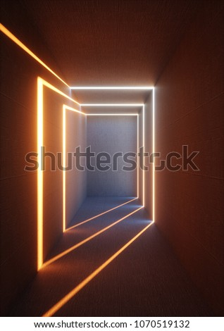 3d render, abstract background, high illuminated empty corridor, interior concrete walls, glowing lines, daylight, tunnel with no exit, sunset light rays, minimalistic space