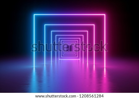 3d render, abstract background, square portal, glowing lines, tunnel, neon lights, virtual reality, arch, pink blue spectrum vibrant colors, laser show, isolated on black