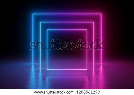 3d render, abstract background, square portal, glowing lines, tunnel, neon lights, virtual reality, arch, pink blue spectrum vibrant colors, laser show, blank space, frame isolated on black