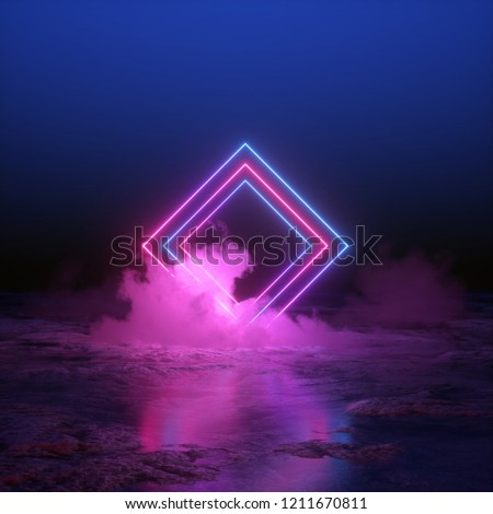 3d render, abstract background, square portal, neon lights, virtual reality, glowing lines, pink blue, ultraviolet spectrum, laser show, smoke, fog, terrain, ground