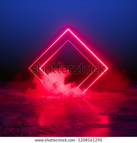 3d render, abstract background, square portal, red neon lights, virtual reality, glowing lines, pink blue, ultraviolet spectrum, laser show, smoke, fog, terrain, ground
