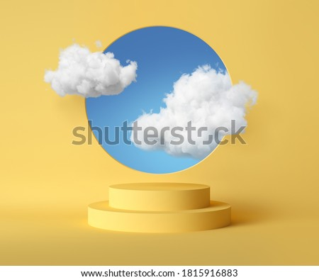 3d render, abstract background with blue sky inside the round hole on the yellow wall. White clouds fly through the window above the empty podium. Blank showcase mockup