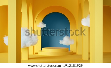 3d render, abstract background with clouds flying inside the yellow room with blue arch. Simple geometric showcase scene with empty cylinder podium for product presentation
