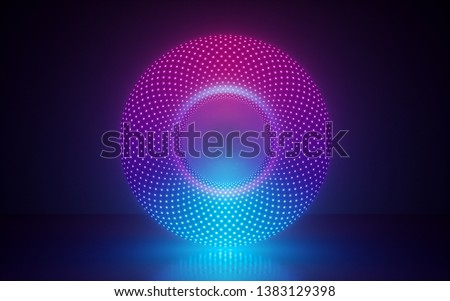 3d render, abstract background with glowing neon round shape, ring, disc, laser show, esoteric energy, ultraviolet spectrum