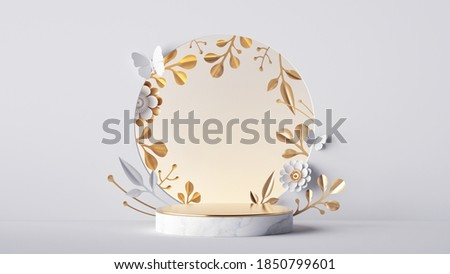 3d render, abstract background with marble podium and round floral frame decorated with golden leaves and white flowers. Abstract botanical mockup. Blank showcase for product presentation