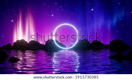 3d render, abstract background with midnight landscape: Aurora Borealis glowing lights in the starry night sky above the water and mountains. Bright neon round frame. Sacred geometry. Сток-фото ©