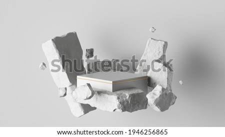 3d render, abstract background with white cobblestone ruins and broken blocks levitating. Modern minimal showcase with empty square podium for product presentation Foto stock ©