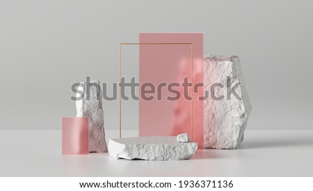 3d render, abstract background with white cobblestone ruins and pink glass blocks. Modern minimal installation with rocks and stones