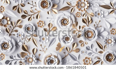 3d render, abstract background with white paper flowers and golden leaves, floral botanical wallpaper Foto stock ©