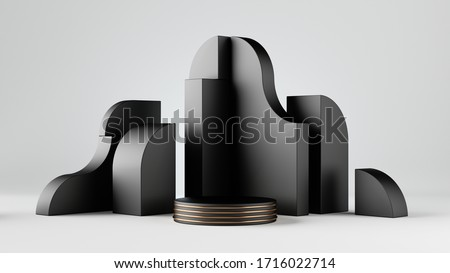 3d render, abstract black blocks isolated on white background. Empty showcase, blank product display mockup with round stage, cylinder podium, vacant pedestal, copy space. Primitive geometric shapes