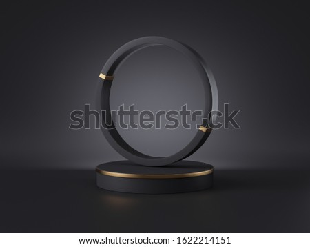 3d render, abstract black gold minimalist background. Empty cylinder podium, round frame, vacant place, blank template, copy space, shop product display, simple showcase stand, futuristic design