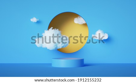 3d render, abstract blue background with white clouds and yellow round hole. Simple geometric showcase scene with empty podium stage for product presentation