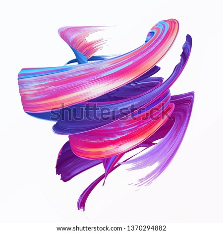 3d render, abstract brush stroke, creative smear clip art, paint splash, dynamic splatter, colorful curl, artistic ribbon, isolated on white background
