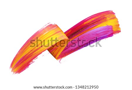 3d render, abstract brush stroke, neon smear, colorful folded ribbon, yellow red paint texture, artistic clip art, isolated on white background