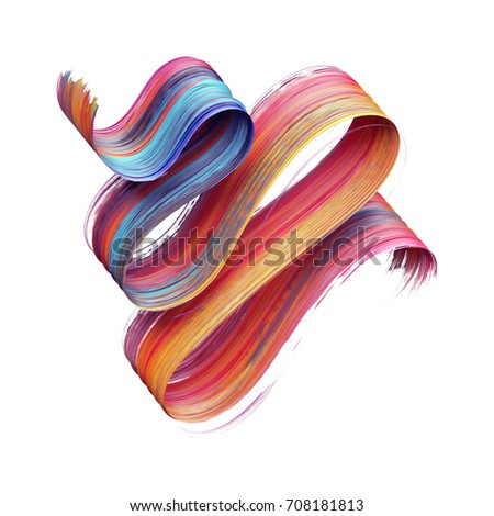 3d render, abstract brush stroke, paint splash, splatter, colorful curl, artistic spiral, vivid ribbon