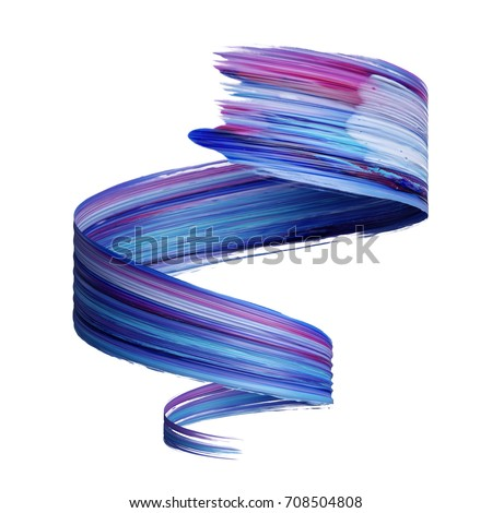 Stock Photo 3d render, abstract brush stroke, paint splash, splatter, colorful curl, artistic spiral, vivid ribbon