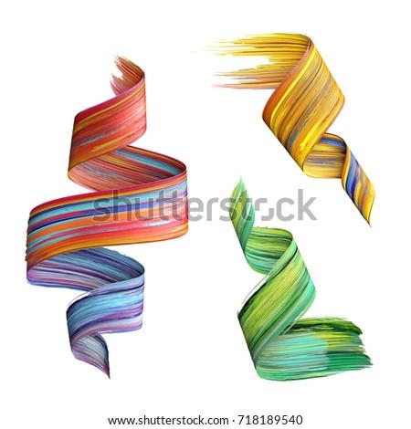 3d render, abstract brush stroke, paint splash, splatter, colorful curl, artistic spiral, vivid ribbon, tape, smear clip art set isolated on white background
