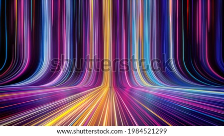 3d render, abstract colorful background, bright neon rays and glowing lines. Pink yellow blue creative wallpaper Foto stock ©