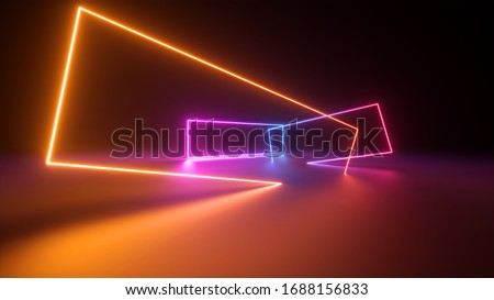 3d render, abstract colorful neon background. Stage laser show illumination. Rectangular geometric shapes, square frames, virtual reality. Glowing neon lines. Modern design