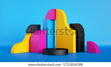 3d render, abstract colorful primitive geometric shapes, blank product display mockup with empty stage, round podium, copy space. Pink, blue, yellow, black assorted blocks.