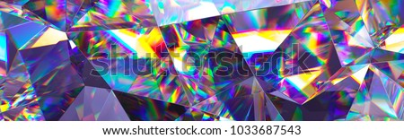 3d render, abstract crystal background, iridescent texture, macro panorama, faceted gem, wide panoramic polygonal wallpaper