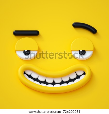 3d render, abstract emotional face icon, stupid funny playboy character, cute cartoon monster, illustration, emoji, emoticon, toy Stock photo ©