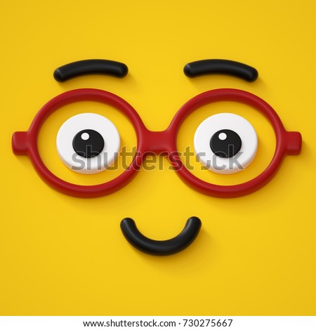 3d render, abstract emotional smart face icon, wearing glasses, friendly character illustration, cute cartoon monster, emoji, emoticon, toy Stock photo ©