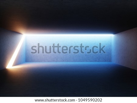 3d render, abstract empty room, illuminated empty interior, wide corridor, concrete walls, glowing light, daylight tunnel, no exit, sunlight rays, minimalistic space